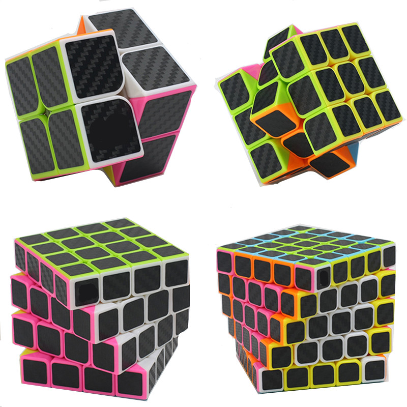 4pcs/set 2x2 3x3 4x4 5x5 Carbon Fiber Puzzle Cube Set Boys Christmas Gifts Educational Toys Magico Cubo for Kids Magic Cube moyu mofangjiaoshi 2x2 3x3 4x4 5x5 speed cube gift box packing professional puzzle cubing classroom mf2s mf3rs mf4s mf5s cube
