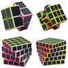 4pcs Set 2x2 3x3 4x4 5x5 Carbon Fiber Puzzle Cube Set Boys Christmas Gifts Educational Toys