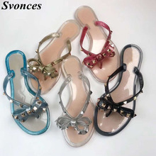 f19483c1c6f8c Women s Shoes 2019 Summer New Sandals Flat slippers Bow Rivets Flip-flops  Garden Jelly Shoes