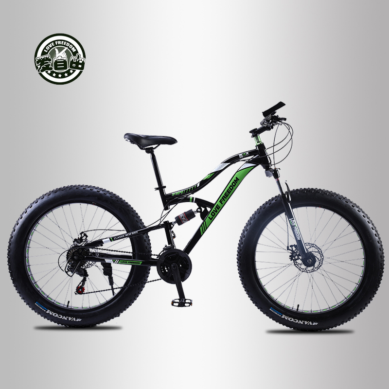 Love Freedom 2019 New Kilometer Bicycle 26 Inch 21/24 Speed 4.0 Tire Snow Bicycle Speed Double Shock Mountain Bike