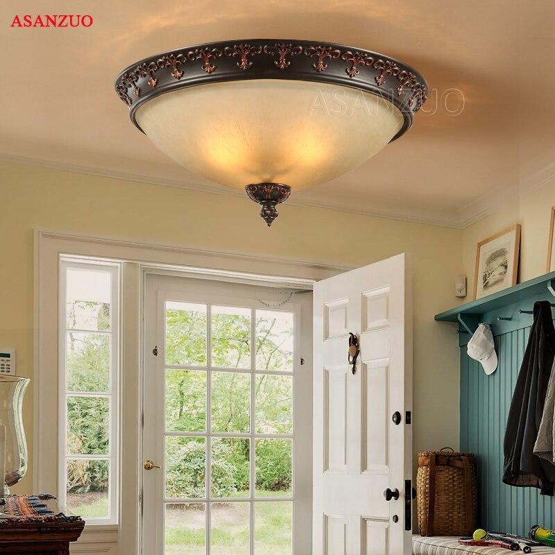 Amerykańskie lampy sufitowe europejska kutego żelaza żywica szklana lampa sufitowa salon kuchnia sypialnia korytarz światła