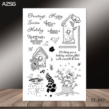 AZSG Lovely rabbit and simple house style Clear Stamps for DIY Scrapbooking/photo Album Decorative Craft Stamp Chapte