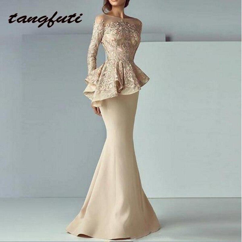 Mermaid Long Evening Dresses Full Sleeves Satin Evening Party Robe De Soiree Elegant Prom Dress Gowns