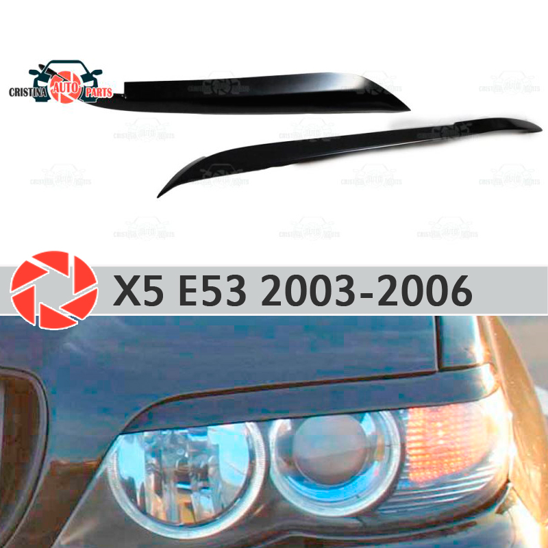 Eyebrows for BMW X5 E53 2003-2006 for headlights cilia eyelash plastic ABS moldings decoration trim covers car styling car styling for bmw