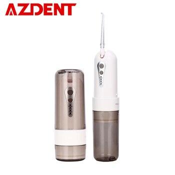 AZDENT de moda 4 modos portátil plegable eléctrico irrigador Oral USB de carga de agua hilo Dental recargable 200 ml + 5 Jet consejos