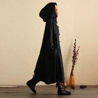 Plus Size ZANZEA Women Hooded Buttons Open Casual Loose Long Dress Winter Spring Oversized Pockets Cotton