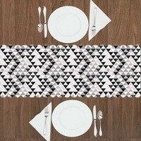 다른 nordec 핑크 그레이 블랙 삼각형 기하학적 3d 인쇄 패턴 현대 테이블 러너 부엌 다이닝 룸 식탁보