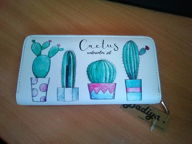 Women Cactus Printing Wallets PU Leather Zipper DesignPhone Bag Zipper Clutch Card Slots Coin Purse Female Wallets photo review