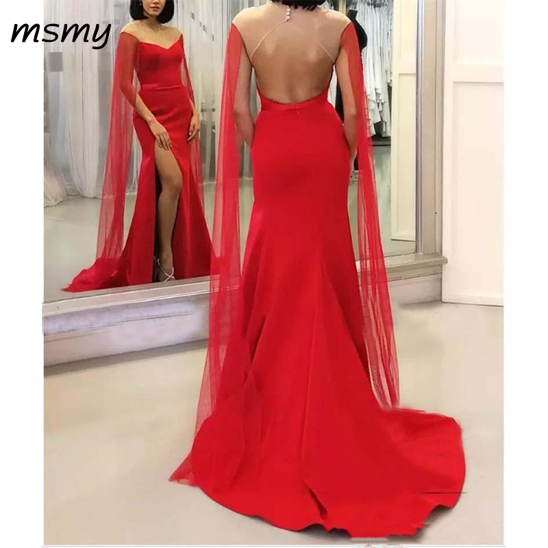 Sexy Red Evening Dresses With Side Split Long Sleeves Sheer Neck Long Prom Party Dreses Cheap