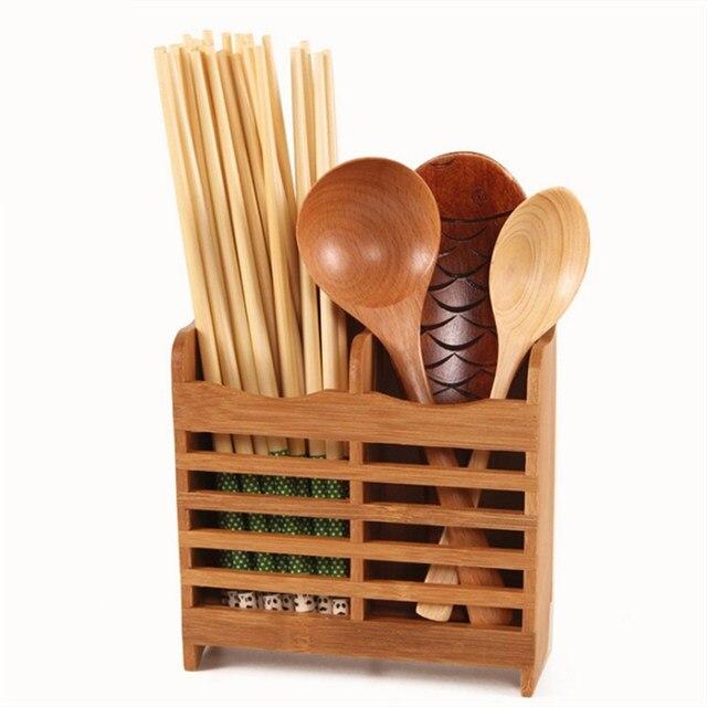 Kitchen Sink Rack Bamboo Dish Cutlery Storage Rack Drainer Drying Holder  Shelf Spoon Sticks Dish Sink