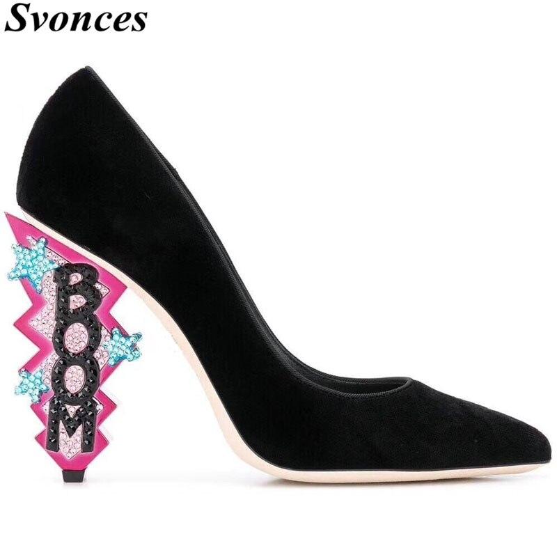 Tacones mujer 2019 블랙 벨벳 여성 펌프 조각 된 발 뒤꿈치 붐 반짝이 크리스탈 하이힐 숙녀 신발 웨딩 대형 42-에서여성용 펌프부터 신발 의  그룹 1