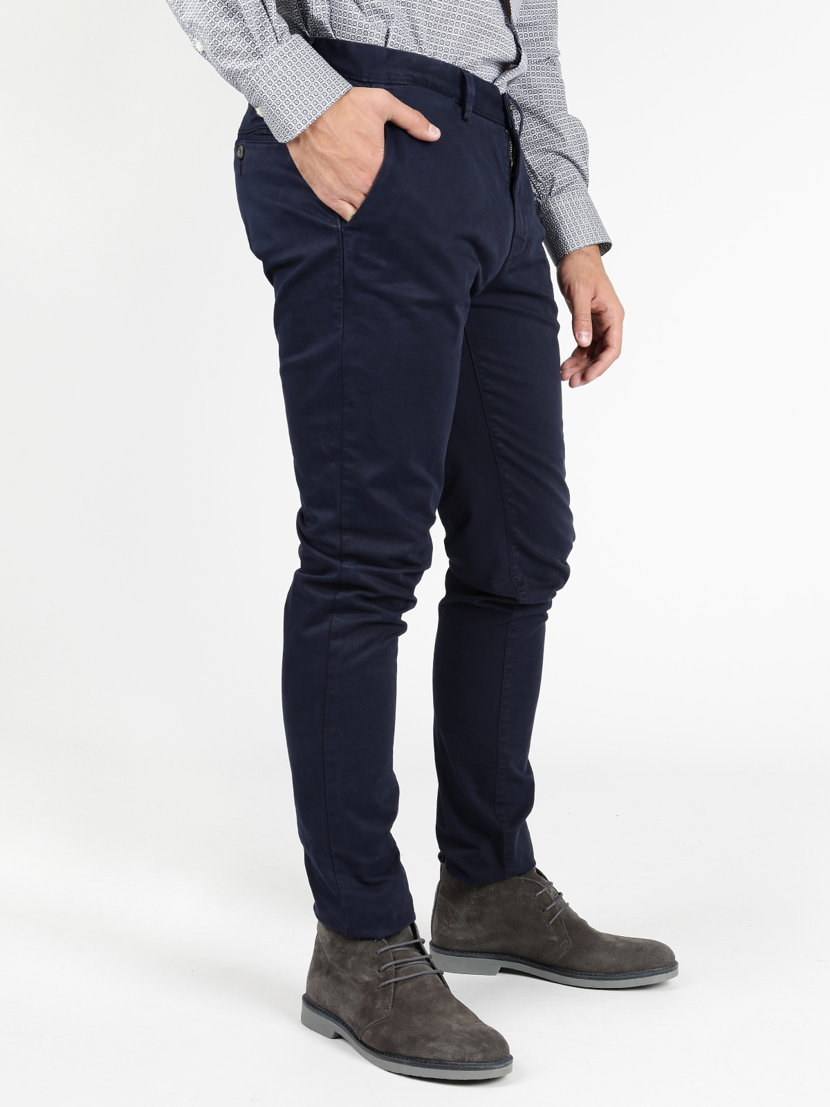 Pants Slim Fit Cotton-Blue