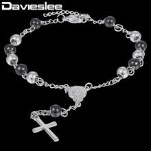 Davieslee Virgin Mary Jesus Cross Charm Rosary Bracelet Womens Bead Chain Stainless Steel Black Gold Silver 2/3/4/6mm DKBM157(China)