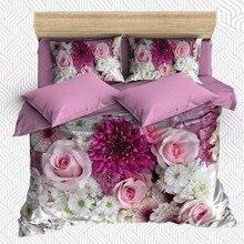 Else 6 шт. фиолетовые цветы розовые белые розы цветы 3D печать хлопок сатин двойное одеяло покрывало Постельный набор наволочка для подушки Кровать Лист