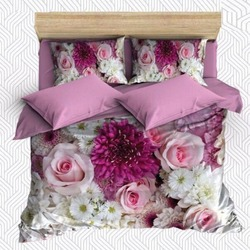 Innego 6 sztuka fioletowy kwiaty różowe białe róże kwiaty 3D druku bawełna satynowa podwójna poszewka na kołdrę zestaw poszewka na poduszkę łóżko arkusz
