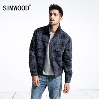 SIMWOOD Brand Casual Warm Jacket Men 2018 Winter Wool Jacket Men Windbreaker Casual Coats Slim fit Plus Size Outerwear 180416