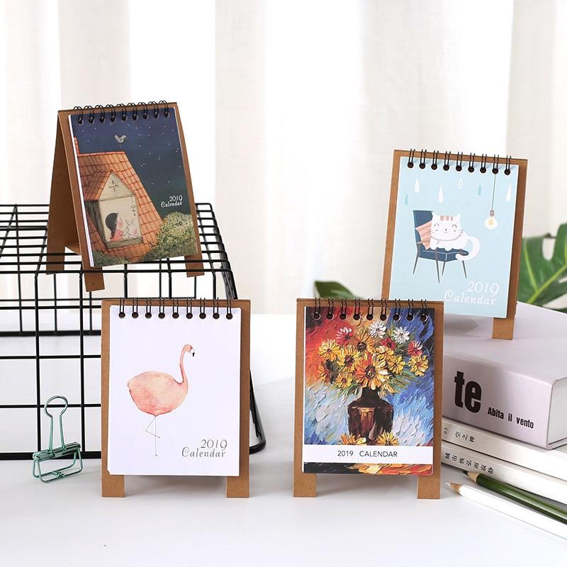 Coloffice Cute Cartoon Kraft Paper Printing Calendar Creative Table Calendar 12.5*9cm Students Stationary Office&School Supplies 18