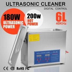 Ultrasonic Cleaner Stainless Steel 6L Commercial Ultrasonic Cleaner 180W Ultrasonic Power Heater Digital Time