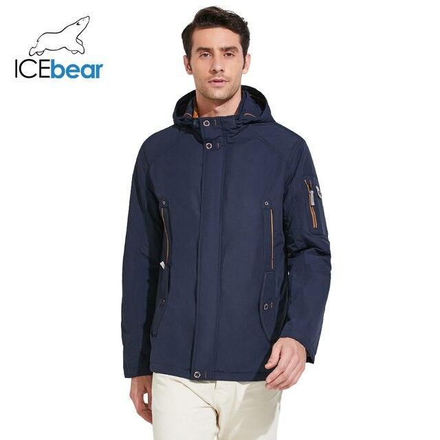 ICEbear 2017 Тонкая мужская демисезонная верхняя одежда парка с удобными боковыми карманами модное пальто с внутренним ветрозащитным шнурком 17MC853D