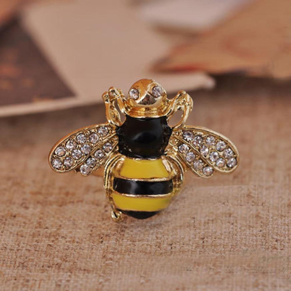Women Fashion Jewelry Accessories Retro Drip Flashing Rhinestone 3D Bee Ring