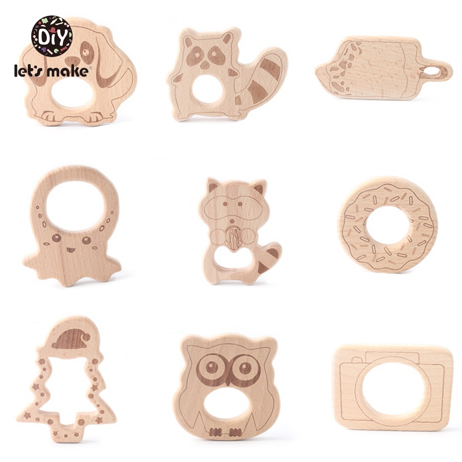 Image 3 - Let's Make Wooden Teether 20pc Nature Baby Teething Toy Organic Wood Teething Holder Nursing Wood Necklace Baby Charms Pendants-in Baby Teethers from Mother & Kids