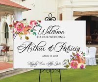 Welcome to our wedding sign.wedding welcome sign,pink blush peach flowers, personalized wedding birthday welcome entrance sign