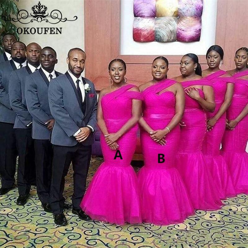 Fuchsia Tulle Mermaid Bridesmaid Dresses One Shoulder Plus Size Women Long Wedding Guest Dress Robe Demoiselle D'honneur