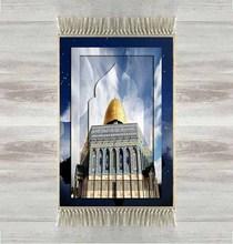 آخر السماء الزرقاء المسجد الذهبي ثلاثية الأبعاد التركية الإسلامية مصلاة للمسلمين السجاد Tasseled مكافحة زلة الحديثة سجادة للصلاة رمضان هدايا العيد