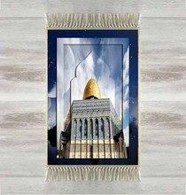 Еще синее небо Золотая мечеть 3d турецкие искусственные коврики кисточками Противоскользящий современный молитвенный коврик Рамадан ИД подарки