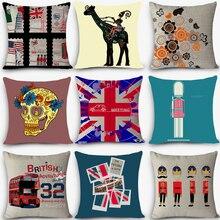 Cojín de lino barato para asiento de coche, cojines de silla de exterior Estilo nórdico Vintage, decoración del hogar para sofás, cojín de Londres, MYJ-I9 anti-decúbitos