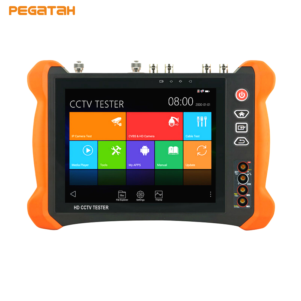 8 inch 8MP IP CCTV Camera Tester Touch screen CVBS TVI CVI AHD SDI IP tester with OPM,TDR test ,Multimeter CCTV tester