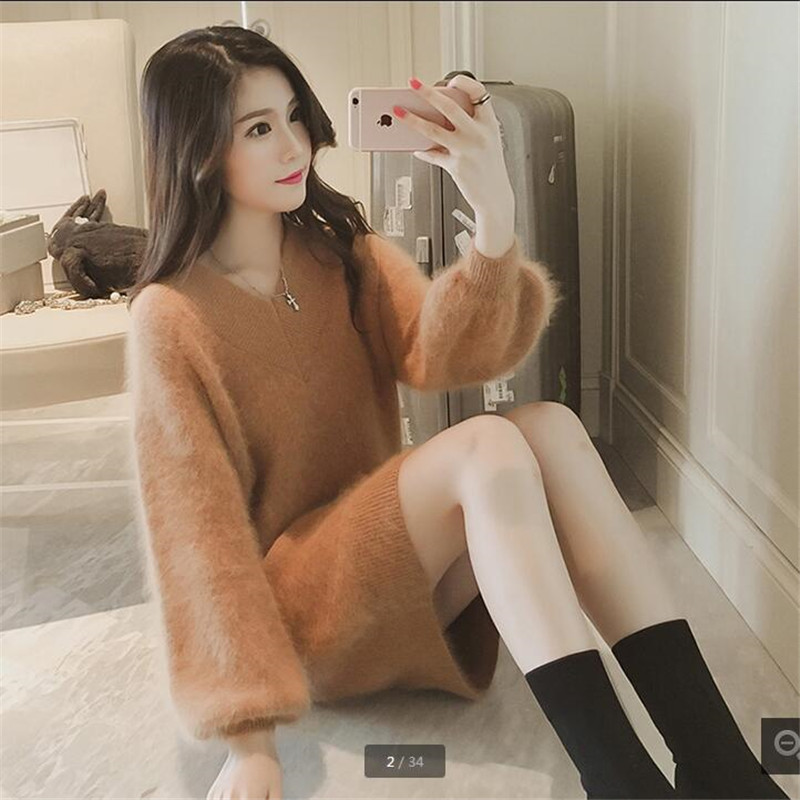 Luxury Clothes Sweaters Fashion Women Korean Style Dress Knitting For Womens Warm Sweaters Shaggy Coat Knitted Pullover B3963
