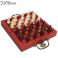 KiWarm Classic Decor Craft Chinese Antique Figurines Chess Set Miniature Chess Travel Games Draughts Entertainment Business Gift