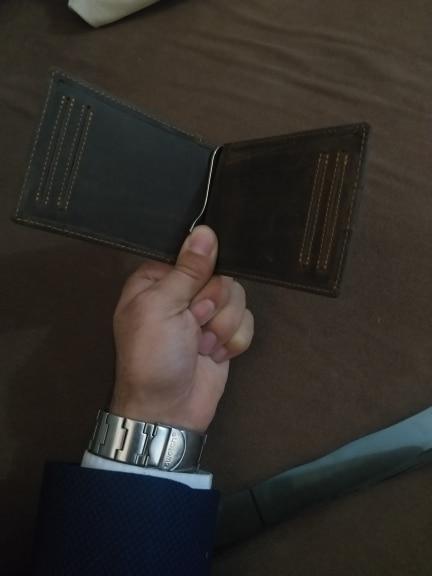 Men Slim Wallet  Front Pocket Minimalist Wallet Genuine Leather Purse Crazy Horse Leather RFID Blocking Money Clip for Man R9007 photo review