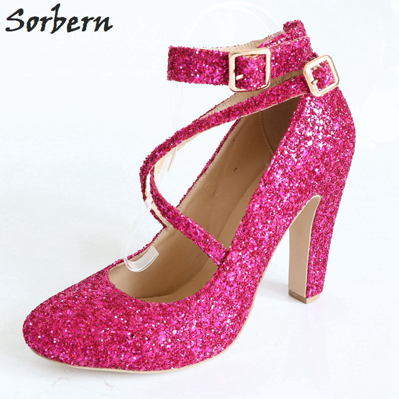 Sorbern Fuchsia Glitter Women Pumps Round Toe Cross Straps Chunky High Heels Pumps Shoes Women Square Heeled Plus Size 46 Shoes