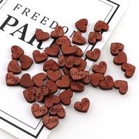 9150Pcs DIY Heart shaped love vintage button wood chips Crafts Wedding DecorationScrapbooking Supplies Hand made Graffiti Button