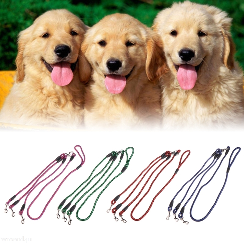 Pets Dogs Leash Coupler Lead With Nylon Soft Handle For Walking 3 Dogs Outside Dog Collar