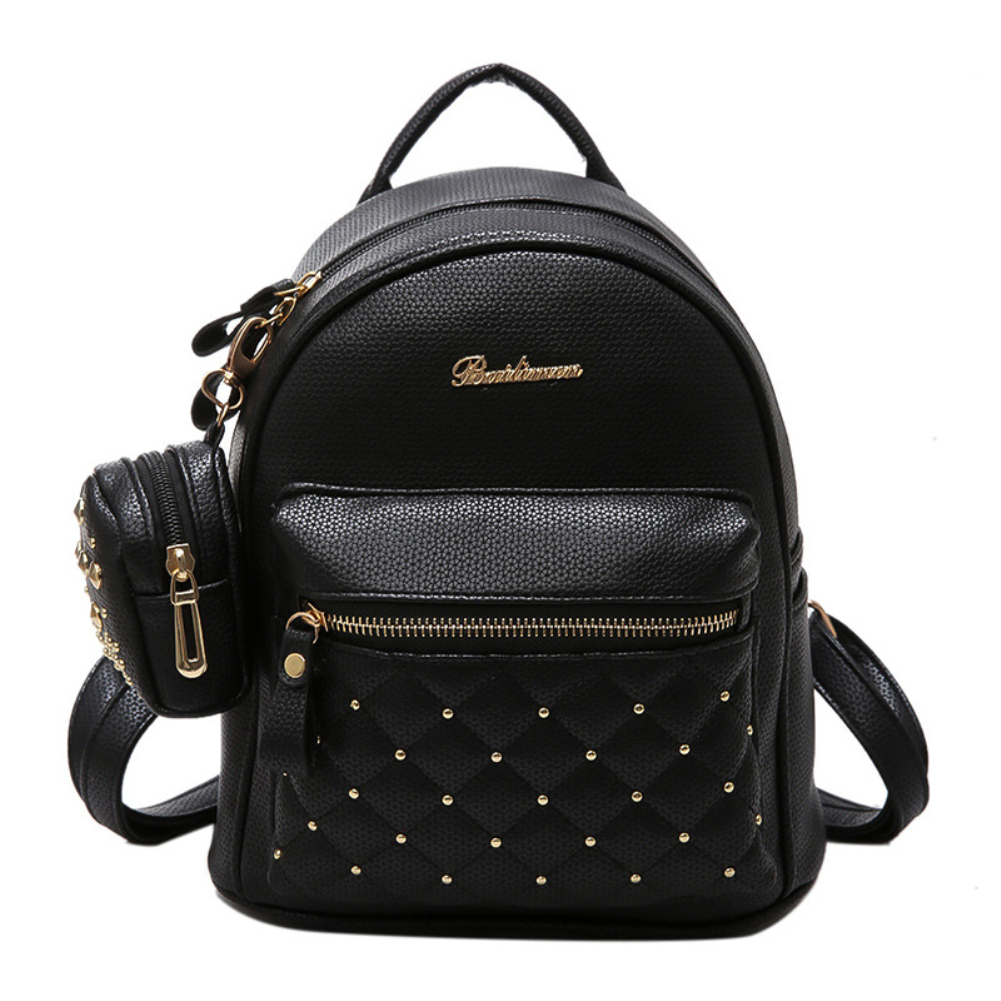 Lady Faux Leather Bag Mini Backpack for Teenagers School Travel Rucksack faux leather flowers mini backpack