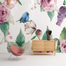 Hand-painted flowers and birds background wall professional production murals wholesale wallpaper mural poster photo