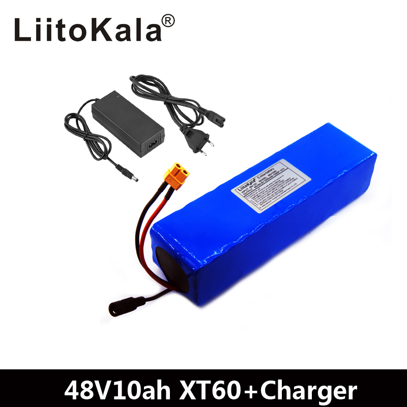 LiitoKala e-bike <font><b>battery</b></font> <font><b>48v</b></font> 10ah li ion <font><b>battery</b></font> pack bike conversion kit bafang <font><b>1000w</b></font> and charger XT60 Plug image
