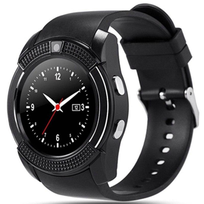imágenes para Nuevo Deporte Del Reloj Inteligente de Pantalla Completa V8 Reloj de Sincronización Empuje Mensaje Notificador con Sim y Ranura Para Tarjeta DEL TF Bluetooth Conectividad teléfono Android