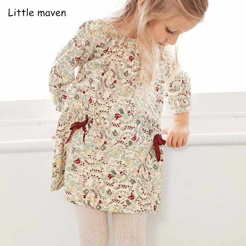 Little maven kids brand 2018 autumn new children's dress baby girls clothes Cotton girl print dresses S0372