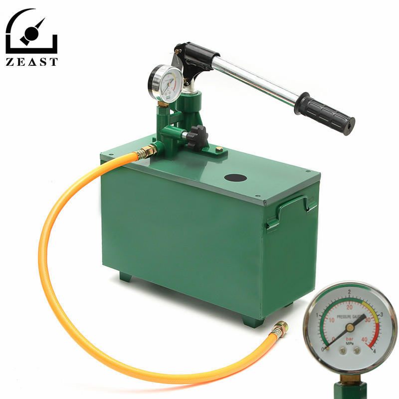 4Mpa 40kg Manual Hydraulic Water Pressure Pipeline Leak Detector Test Pump Machine Vessels Pipes Valves Measuring Tool yuci yuken pressure reducing and relieving valves rbg 03 10 hydraulic valve
