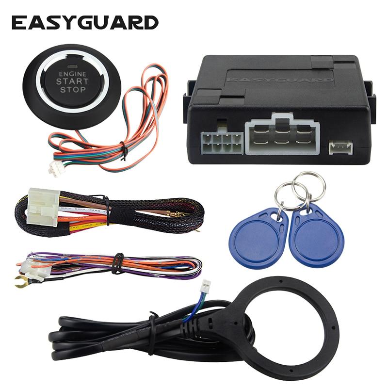 Sistem universal de alarmă auto RFID cu oprire la pornire la distanță a motorului, oprire pornire buton, funcționare cu alarma auto originală