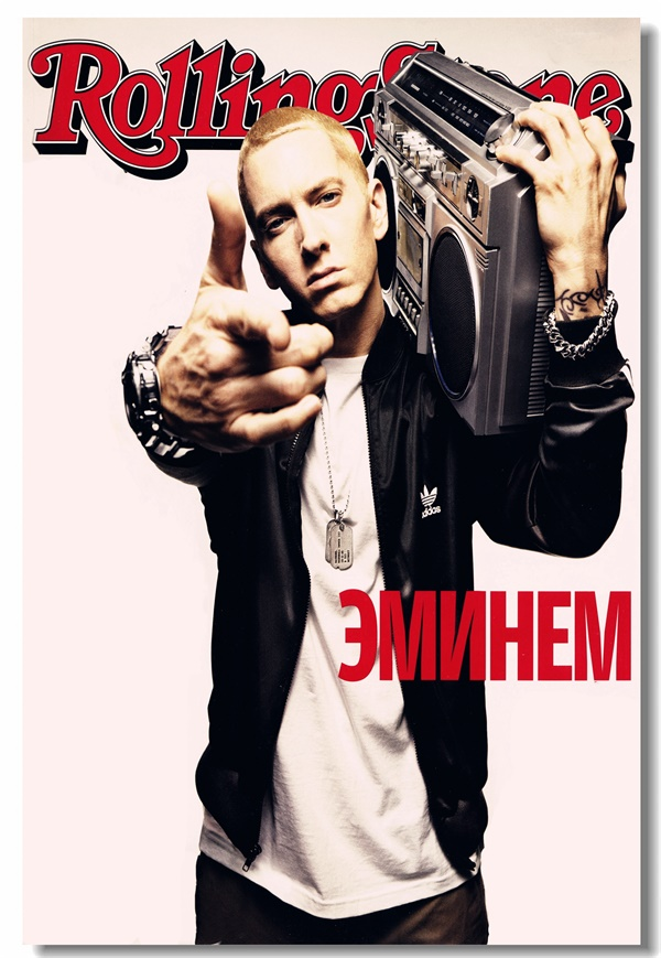 Us 575 28 Offcustom Canvas Wall Decor Eminem Poster Eminem Mural Sticker Rap Hip Hop Wallpaper Rapper Office Decal Cafe Bar Decoration 0073 In
