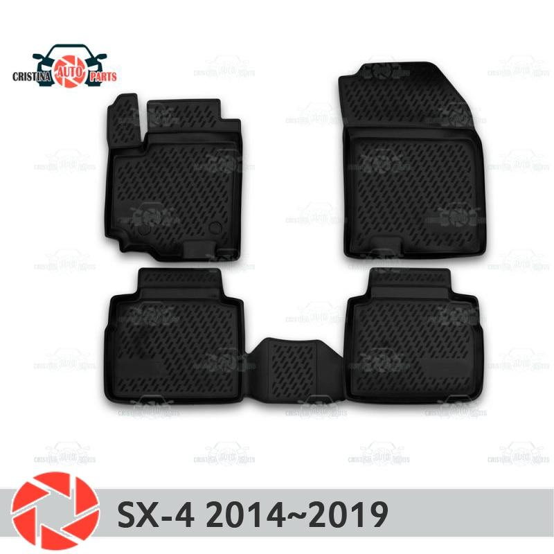 Alfombras de piso para Suzuki SX4 2013 ~ 2019 alfombras antideslizantes de poliuretano tierra protección interior estilo de coche accesorios
