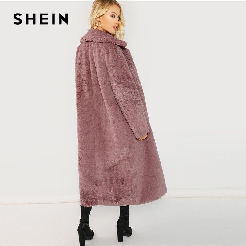 SHEIN Rosa Oficina señora elegante abierto frente largo piel sintética Teddy sólido abrigo 2018 otoño minimalista mujeres abrigos ropa de abrigo - 3