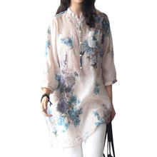 Autumn Women Vintage Floral Printed Blouse Elegant Long Sleeve Plus Size Women Casual Blouses Long Shirt Tops Blusas