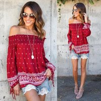 New Fashion Boho Style Print Women Blouse 2017 Summer Ladies Casual Loose Off Shoulder Tops Long