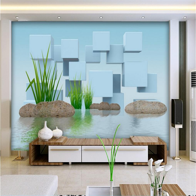 Light Blue Custom Mural 3D Green Grass Stone Wallpaper for Walls 3D Box Landscape Chinese Wall Covering Living Room Home Decor landscape wall mural wall covering murals for living room tv backsplash wall art decor wallpaper for walls 3 d roll